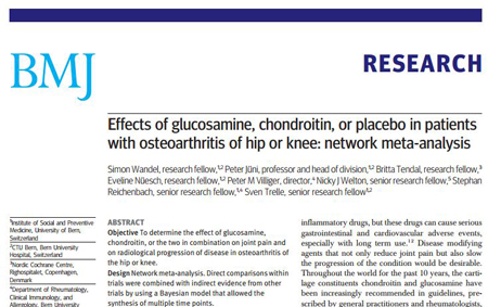 Effects of glucosamine, chondroitin, or placebo in patients with osteoarthritis of hip or knee
