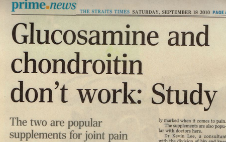 Oral Glucosamine and Chondroitin don't work: study